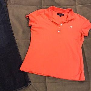 Aeropostale Polo Shirt, Size L, Coral Pink/Orange